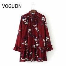 VOGUEIN New Womens Vintage Burgundy Floral Print Ruffled Loo