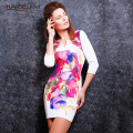 Kaige.Nina New Women's Vestidos Fashion Printing Style 7 Minutes Of Sleeve V-neck No Decoration Sheath Mini Autumn Dress 1616