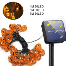 4M 20LED Waterproof Solar Pumpkin String Lights Outdoor Copper Wire Christmas Garland For Halloween Eve Decoration