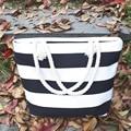 2017 Women Casual Beach Stripes Canvas Bag Handbags Ladies Large Totes Shoulder Free Shipping High Quality Bolsa Feminina P426