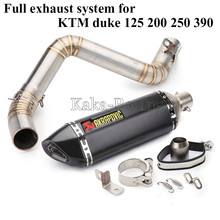 Full System Motorcycle Exhaust Muffler mid link Pipe Slip-On with Akrapovic muffler tail For KTM Duke 125 200 250 390 2011-2016(China)