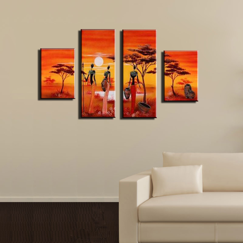 4 Piece Abstract Modern Panel Canvas Wall Cheap African