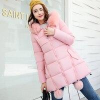 Plus Size Women Winter Jacket Long Fashion 2018 Thicken Cotton Parkas Coat Female Fur Hooded Coat Pink Women jaqueta feminina
