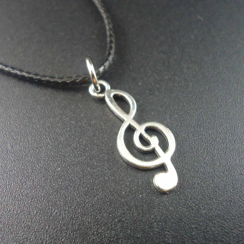 Newest Fashion Trendy Alloy Note Music Notation Pendants Colar Leather Vintage Choker Women Necklaces Men jewelry