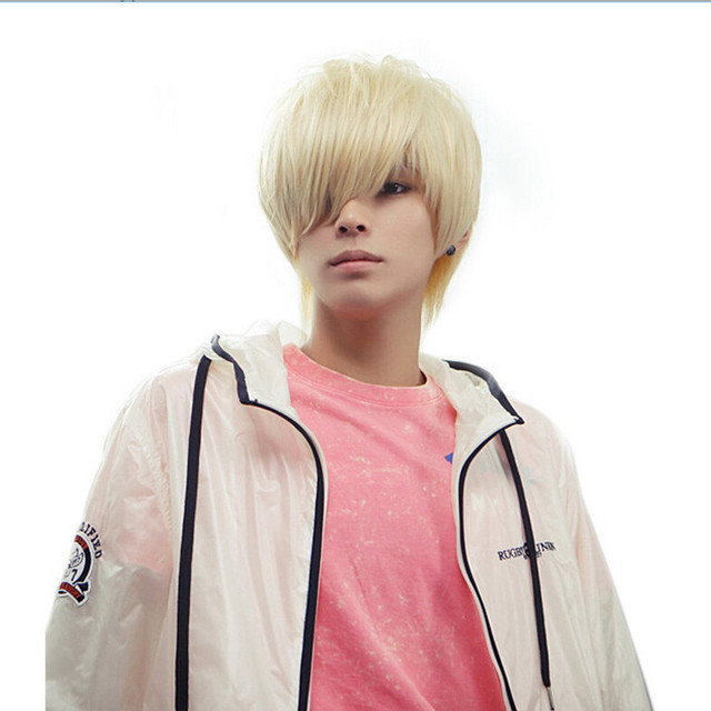 Men Korean Japan Style Full Short Hair Solid Color Cosplay Synthetic