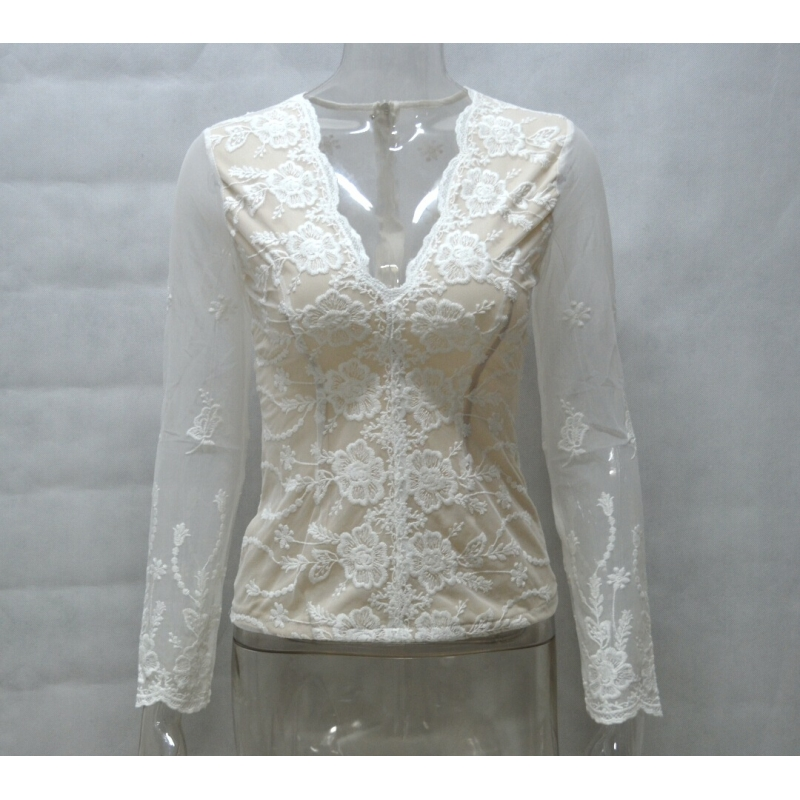 V Neck Lace Blouse