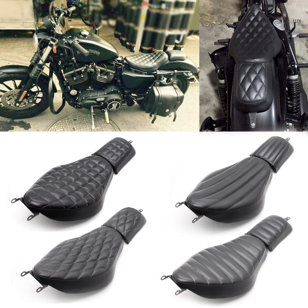 Four New Black Motorcycle Front Driver Leather Pillow Double Seat Cushions For Harley Sportster 48 XL883 72 X48