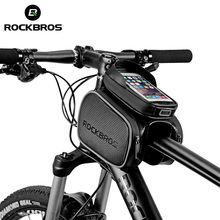 цена на ROCKBROS Touch Screen Rainproof Top Tube Bicycle Bike Bag Smart Phone Bags MTB Cycling Frame Front Head Pannier Bike Accessories