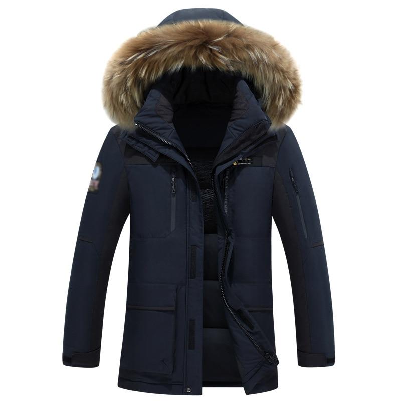 Can Withstand 40 Degrees Long Thick Fur Collar Daunenjacke Plus Size Detachable Cap Men Down Jacket Men Winter