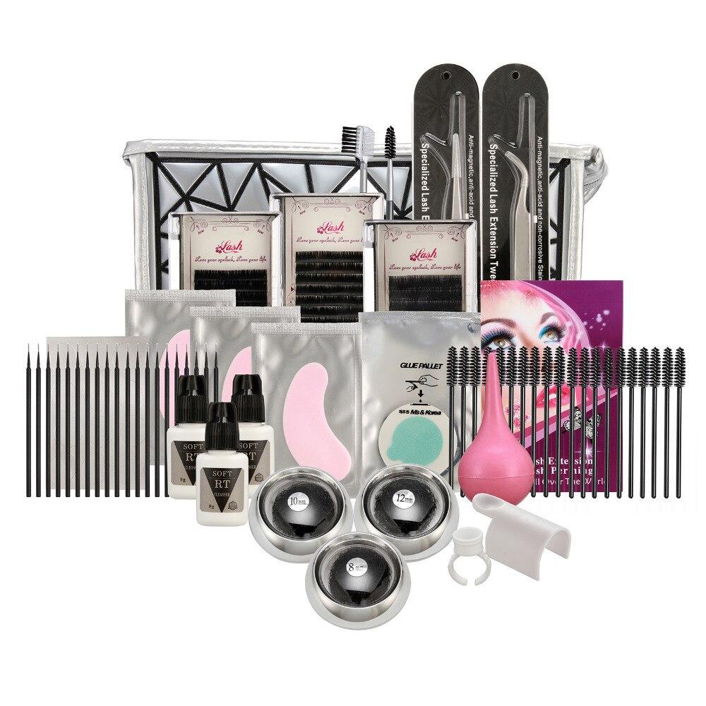 False Eyelashes Full Kit Various Length Extension Glue Brush Makeup Tools Professional Individual False Eyelash Grafting Kit