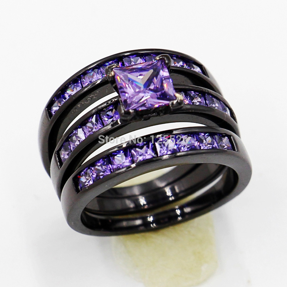 engagement gold amethyst filled ring elegant jewelry female of best black purple rings male