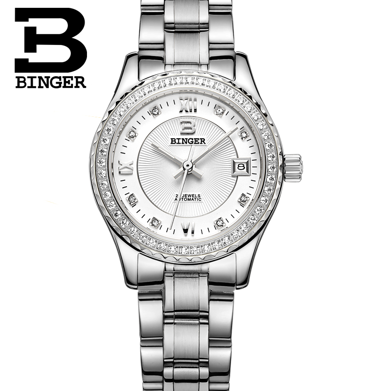 Couple Watches Men Watches 2016 BINGER Top Brand  Automatic Mechanical Watch Stainless Steel Strap  Women Fashion Wristwatch