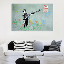 Banksy Graffiti A Child Wielding Machine Gun Canvas Painting Living Room Home Decoration Modern Wall Art Oil Posters