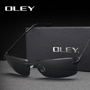 Солнцезащитные очки OLEY без оправы UV400 для мужчин и женщин, брендовые прямоугольные поляризационные зеркальные солнечные очки