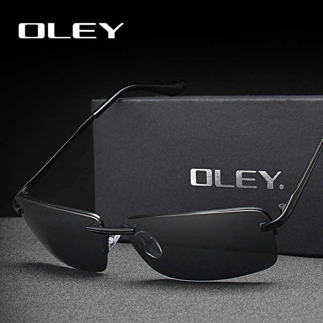 3bbf1594b3 OLEY marcas de los hombres sin marco Rectangular gafas de sol polarizadas  UV400 espejo hombre gafas