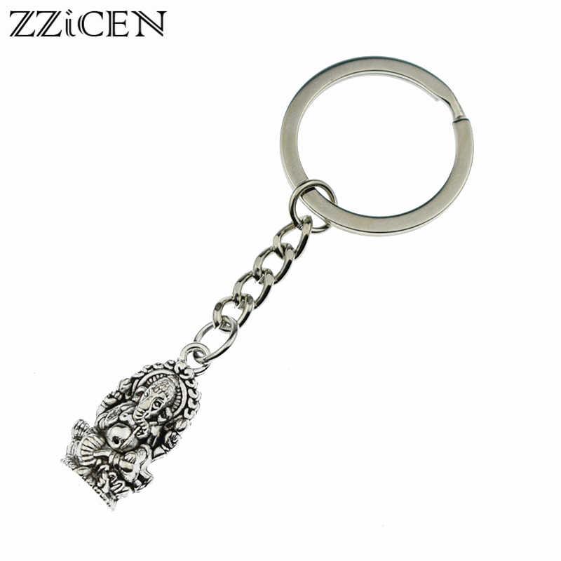אופנה עתיק פיל בודהה גנש תליון Keychain נשים בנות מתנות רכב ארנק מפתח שרשרת טבעת בעל תכשיטי מזל