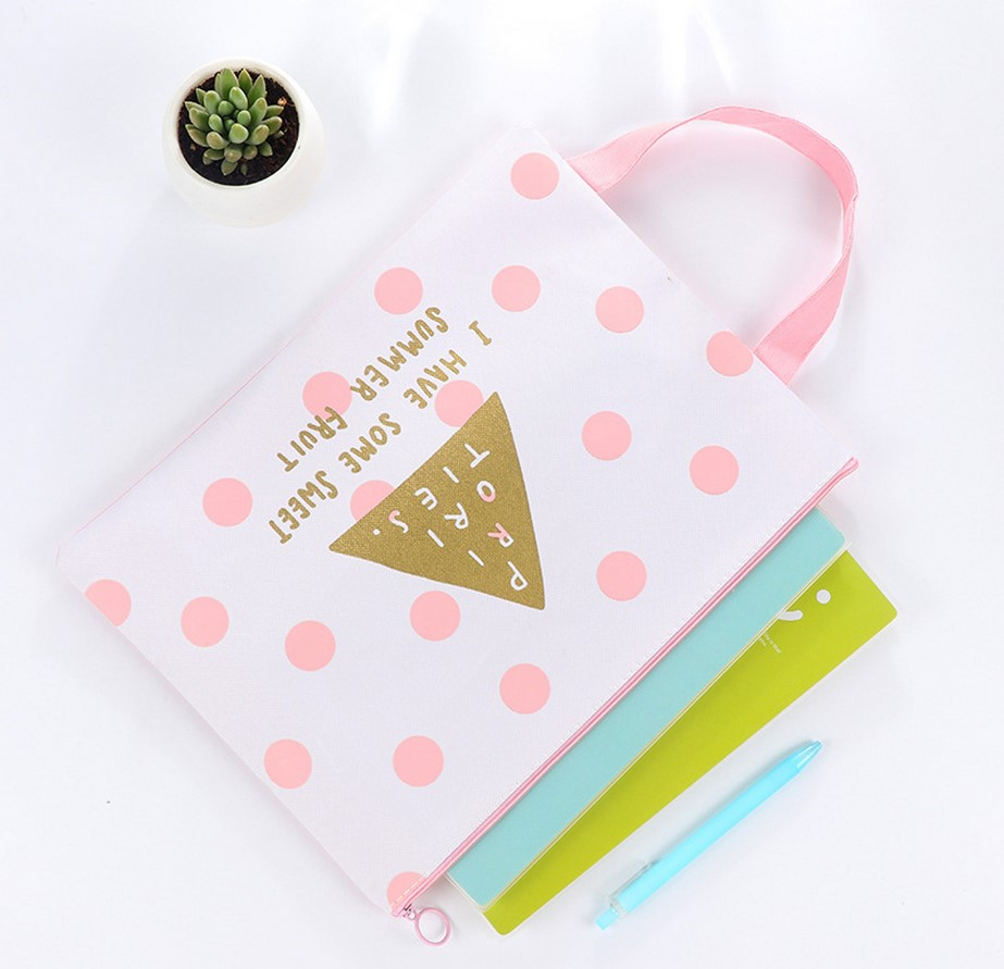 A4 Canvas Oxford Document Bag Big Capacity Zip Bag Business Briefcase Storage File Folder for Papers Stationery Student Gift B66