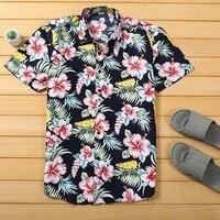 Мужская пляжная гавайская рубашка тропическая летняя рубашка с коротким рукавом мужская брендовая одежда Повседневная Свободные хлопчато...