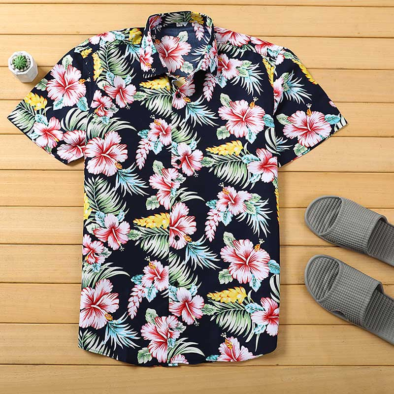Mens Beach Hawaiian Shirt Tropical Summer Short Sleeve Shirt Men Brand Clothing Casual Loose Cotton  Shirts Plus Size