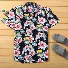 Mens Beach Hawaiian Shirt Tropical Summer Short Sleeve Shirt Men Brand Clothing Casual Loose Cotton  Shirts Plus Size lucky brand women s plus size tropical americana tank