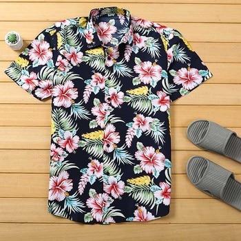 Mens Beach Hawaiian Shirt Tropical Summer Short Sleeve Men Brand Clothing Casual Loose Cotton  Shirts Plus Size