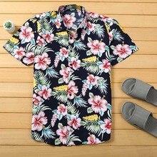 Mens Beach Hawaiian Shirt Tropical Summer Short Sleeve Shirt Men Brand Clothing Casual Loose Cotton Shirts Plus Size