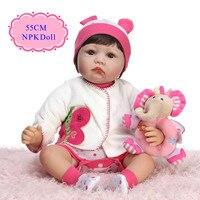 Enducational 55 cm 22 pulgadas pegado cabello real peluca muñeca para la venta con alta calidad muñeca ropa mejor bedtime Playhouse juguete