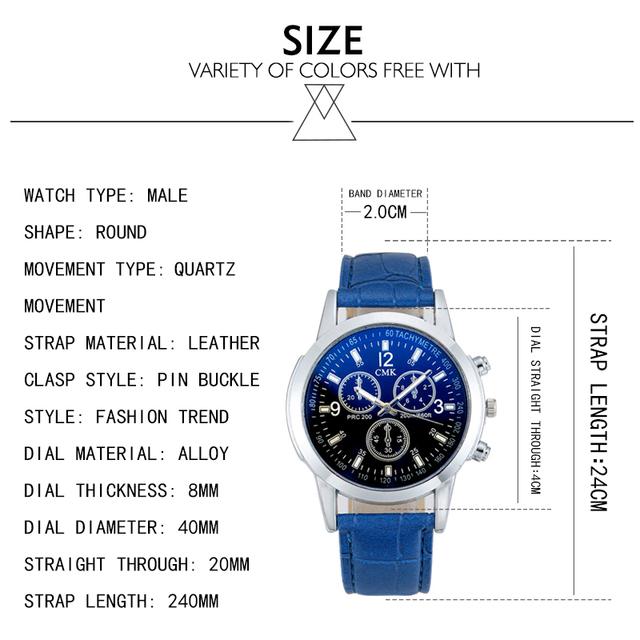 Originales relojes de hombre de negocios Casual de lujo correa de cuero hombres azul Rayo de cristal de cuarzo reloj de moda