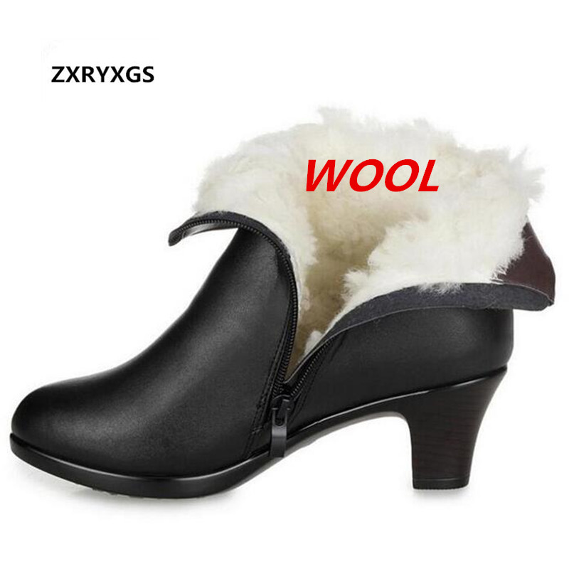 2019 large size winter cow leather boots women fashion shoes Warm and comfortable wool boots plus