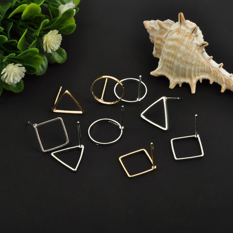 10pcs Square/Round Stud Earrings Making Accessories Handwork Wholesale Metal Jewelry Findings DIY Ear Jewelry Gold