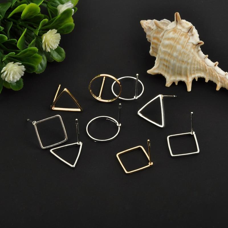 10pcs Square/Round Stud Earrings Making Accessories Handwork Wholesale Metal Jewelry Findings DIY Ear Jewelry Gold/Dark Silver