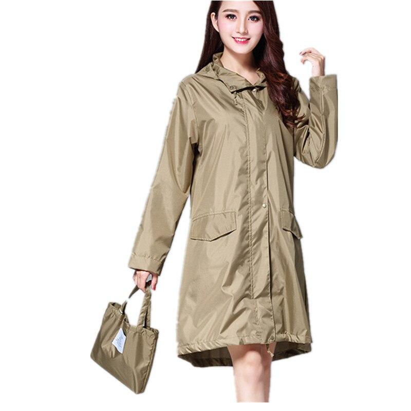 105919cf5 Long Raincoat Women waterproof windproof hood, ladies thin Rain Coat  Ponchos Jackets Female Chubasqueros Mujer capa de chuva