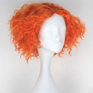 Image 2 - Alice im Wunderland 2 Mad Hatter Tarrant Hightopp Perücke Kurze Orange Wärme Beständig Synthetische Haar Perucas Cosplay Perücke + Perücke kappe