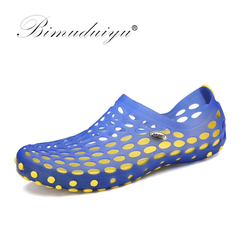 BIMUDUIYU շքեղ ապրանքանիշ տղամարդկանց ամառային լողափ կոշիկներ Պատահական տղամարդիկ սանդալներ Նորաձևություն պլաստիկ սանդալներ Արական քարանձավ Wading ջրային կոշիկներ սանդալներ