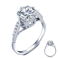 USTYLE Wholesale 2 Carat Round Cut Created Diamond Solid 925 Sterling Silver Wedding Engagement Ring For