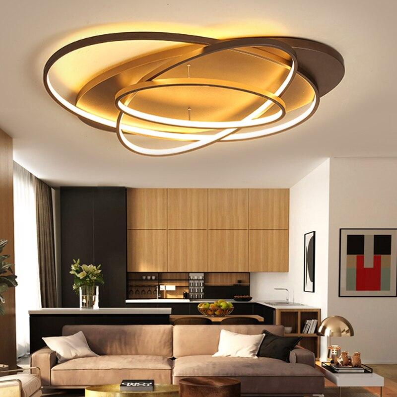 Blanco/café Fashional súper delgada lámpara moderna para sala de estar dormitorio círculo anillos Led lámpara de luz para iluminación interior