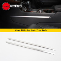 1 Pair Car Gear Shift Box Side Trim Strip Decoration Cover for VW Touareg 2011 2017 Interior Moulding SS Alu Styling Accessories