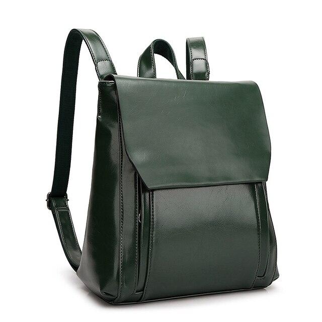 13711790350f 2017 Women Oil wax Leather Backpack Women Casual Design School Bags Female  PU Leather Women s Travel
