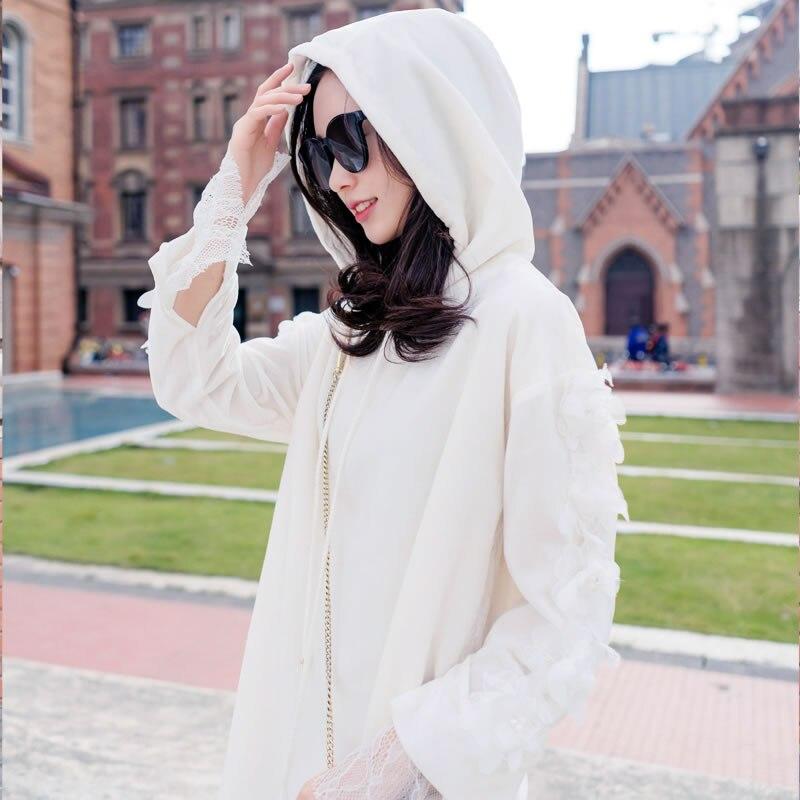 À Mode Dentelle Plein White Robe 2019 Femmes Col Solide xitao Nouveau Capuche Dll2037 Couleur Pièces Deux Féminine Manches Printemps Faux pXx6fnw