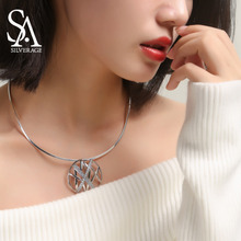 цена SA SILVERAGE Fine Jewelry For Women Gift 925 Sterling Silver Choker Necklace Chocker Necklaces Box with Silver Polishing Cloth онлайн в 2017 году