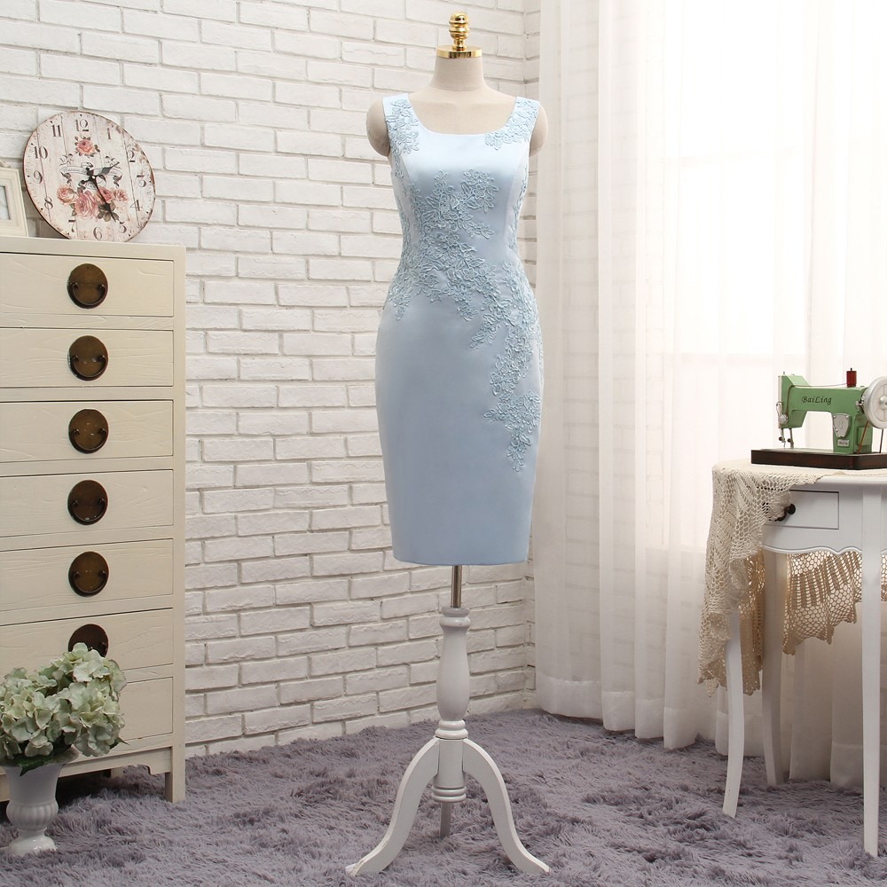 Plus Size Blue 2018 Mother Of The Bride Dresses Sheath With Jacket Appliques Lace Wedding Party Dress Mother Dress For Wedding 5