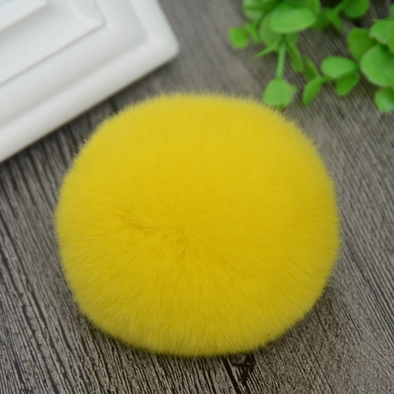 8cm Nature Genuine Rex Rabbit Fur Ball Pom Pom Fluffy DIY Winter Hat   Skullies     Beanies   Knitted Cap Pompoms TKF001-yellow