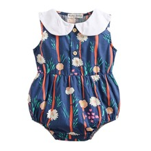 Triangular Baby girl Clothes Cotton Printed Conjoined Suit Summer Sleeveless Girls Fashion Floral bodysuit children overall