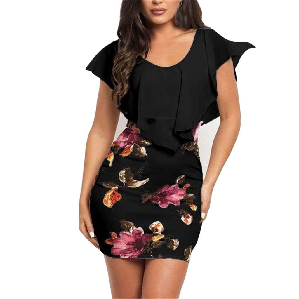 Лидер продаж, женское летнее платье без рукавов, красивые облегающие праздничные Вечерние Короткие Мини-Платья с цветочным принтом