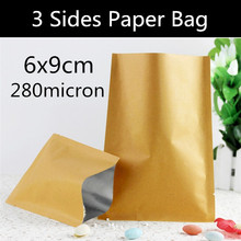 Free Shipping 200pcs 6cm * 9cm Small Heat Seal Paper Bag 3 Sides Flat Paper Bag Vacuum Foil Sealed Bag