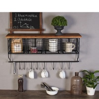 American retro industrial stle grid wall decoration rack hook cafe office home wall hanging