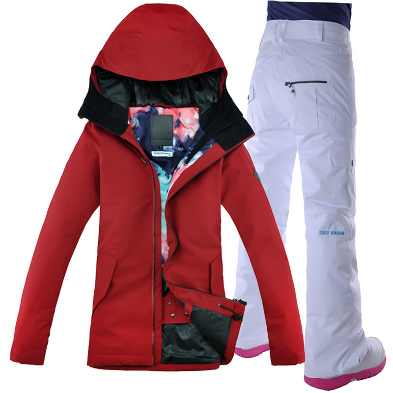 2018 Gsou Snow Women Ski Suit Winter Clothing Waterproof Windproof Skiing Snowboard Jacket Pant Female Russia Style Suit Set New
