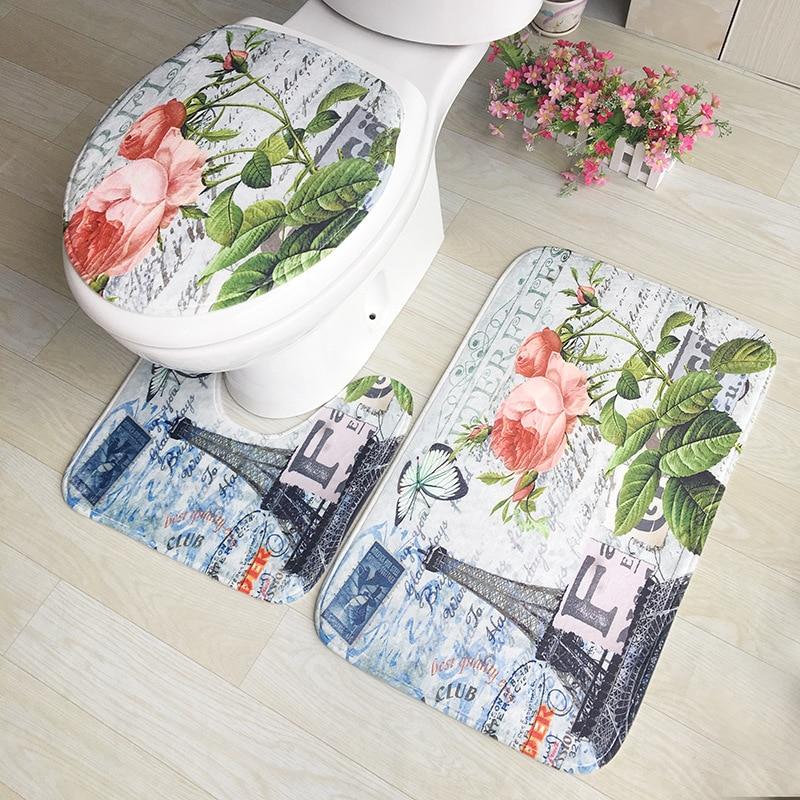 Zeegle Flower Pattern 3Pcs Bath Mat Set Non-slip Bathroom Floor Mats Toilet Rugs Lid Toilet Cover Absorbent Bathroom Carpet Set