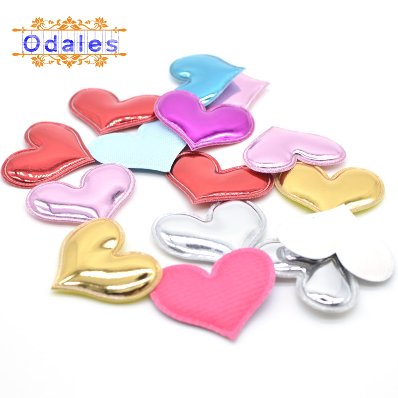 80Pcs Shiny PU Heart Shape Padded Felt Patches for Decoration Hair Accessories Crafts Cake Toppers Appliques Ornament