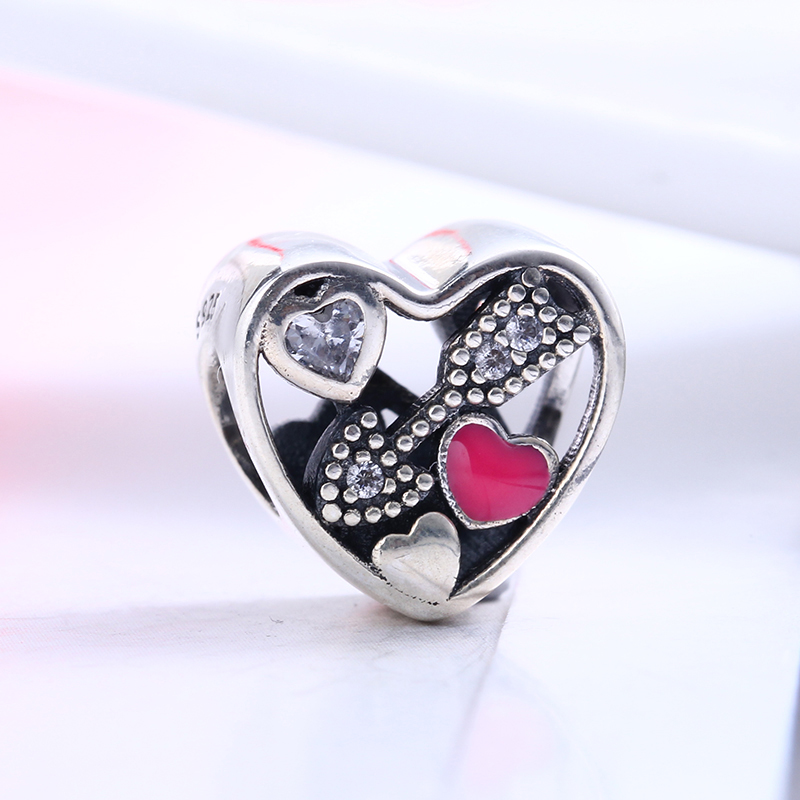 2017 Valentines Day Struck By Love 925 Sterling Silver CZ Charms Beads Fit Original DIY Pandora Charm Bracelet Jewelry